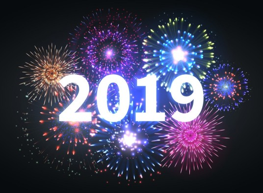 Fireworks explosion. Happy new year 2019 event banner. Pyrotechnics sparks. Festive firework celebration vector background